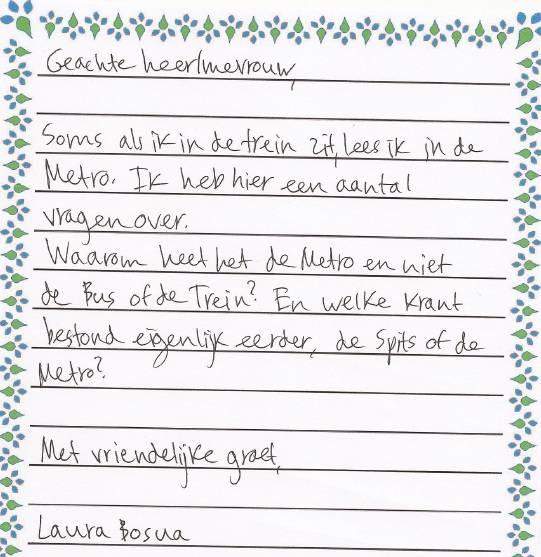 grappige brief schrijven Laura's brieven: Fristi en Metro   Laura denkt