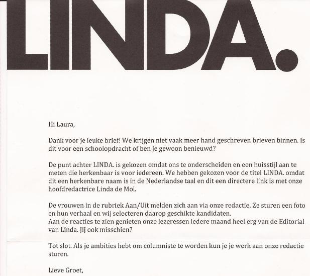 Ik kreeg nog een LINDA-shopper. Heel erg lief :): www.lauradenkt.nl/tag/linda-magazine