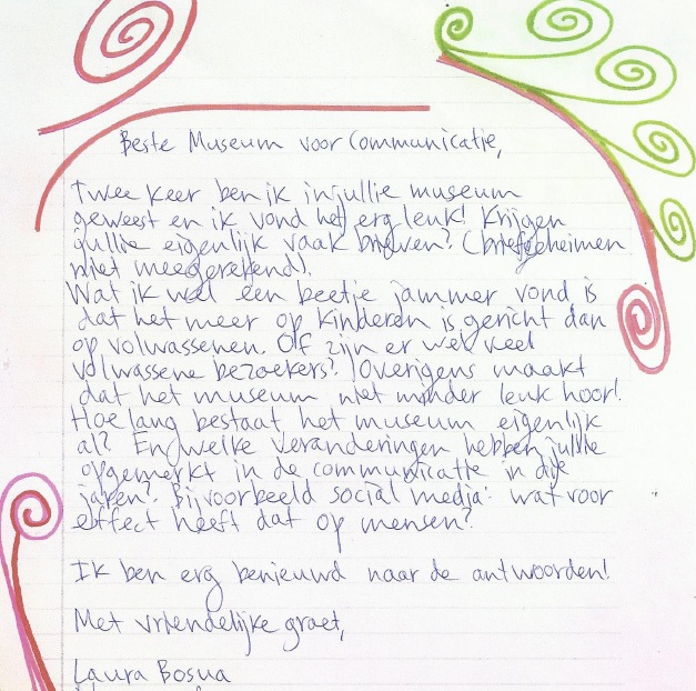 Laura's brieven: Museum voor Communicatie | Laura denkt